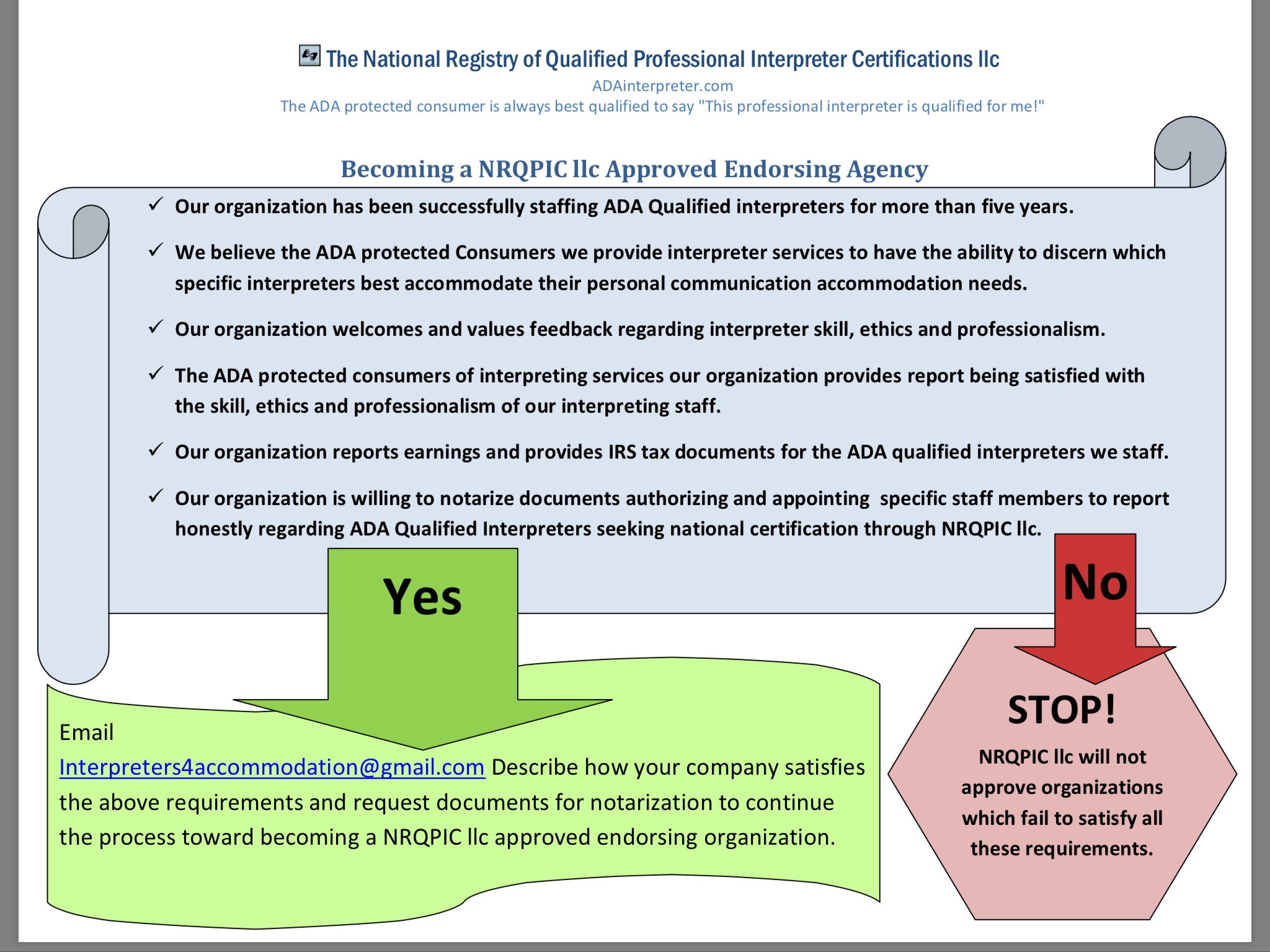 the national registry of qualified professional interpreter organizations seeking to endorse skilled interpreters